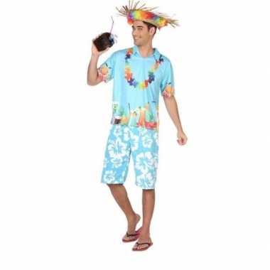 Hawaiiaanse blouse foute kleding blauw voor heren