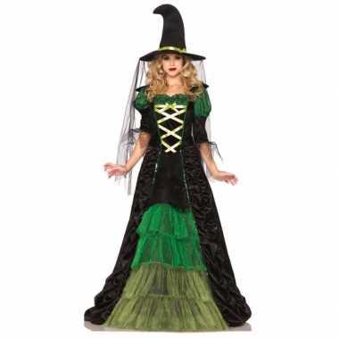 Heksen foute kleding groen met zwart