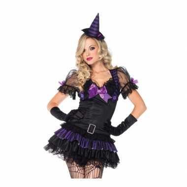 Heksen foute kleding zwart/paars voor dames