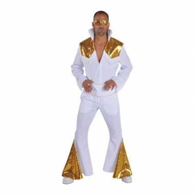 Heren elvis foute kleding wit met goud