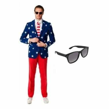 Heren foute kleding met amerikaanse vlag print maat 54 (2xl) met gra