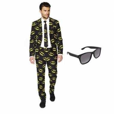 Heren foute kleding met batman print maat 46 (s) met gratis zonnebri