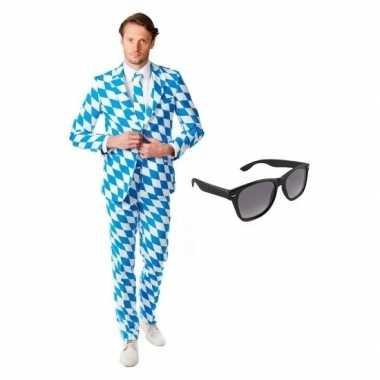 Heren foute kleding met beierse print maat 50 (l) met gratis zonnebr