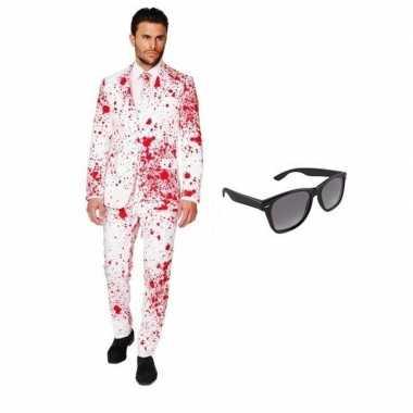 Heren foute kleding met bloed print maat 50 (l) met gratis zonnebri