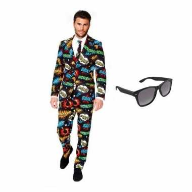Heren foute kleding met comic print maat 52 (xl) met gratis zonnebr