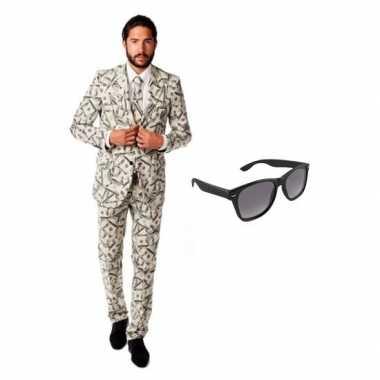 Heren foute kleding met dollar print maat 52 (xl) met gratis zonnebr