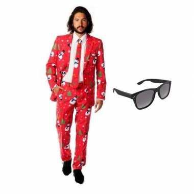 Heren foute kleding met kerst print maat 54 (2xl) met gratis zonnebr
