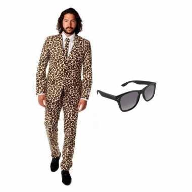 Heren foute kleding met luipaard print maat 50 (l) met gratis zonneb
