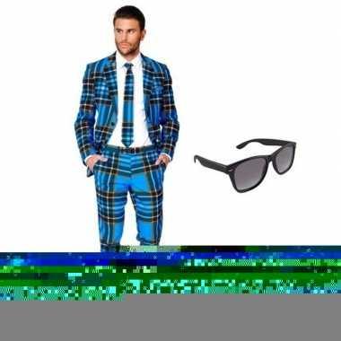 Heren foute kleding met schotse print maat 48 (m) met gratis zonnebr