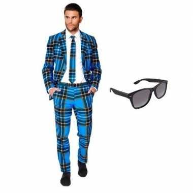 Heren foute kleding met schotse print maat 50 (l) met gratis zonnebr