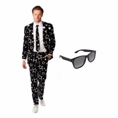 Heren foute kleding met sterren print maat 50 (l) met gratis zonnebr