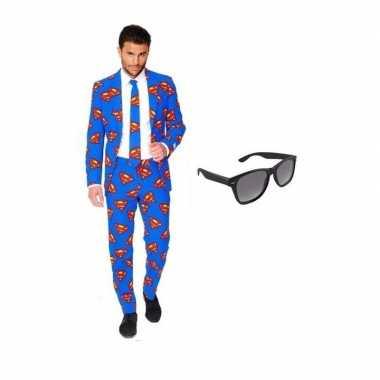 Heren foute kleding met superman print maat 52 (xl) met gratis zonne