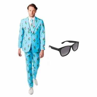 Heren foute kleding met tulpen print maat 50 (l) met gratis zonnebri