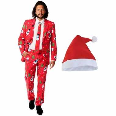 Heren opposuits kerst foute kleding rood met kerstmuts maat 52 (xl)