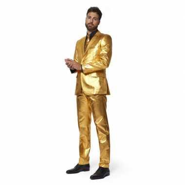 Heren pak/foute kleding metallic goud met stropdas