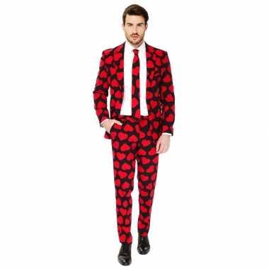 Heren pak/foute kleding rode hartjes print