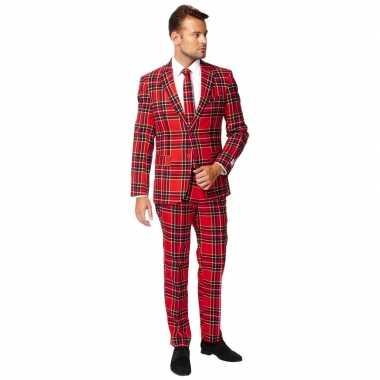 Heren pak/foute kleding rode schotse print