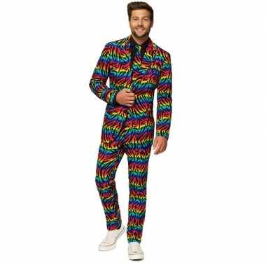 Heren pak/foute kleding zebra regenboog print