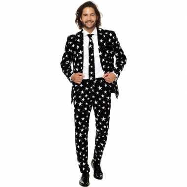 Heren pak/foute kleding zwart met sterren print