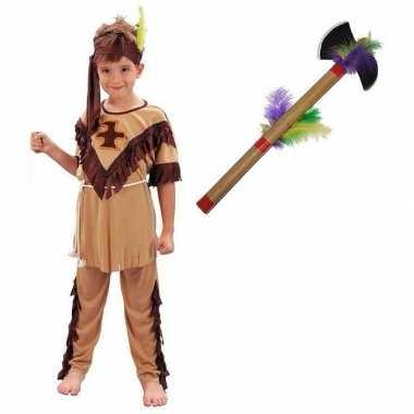 Indianen foute kleding maat m met tomahawk voor kinderen