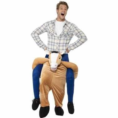 Instap dierenpak foute kleding paard voor volwassenen