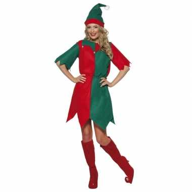 Kerst elf foute kleding rood/groen voor dames