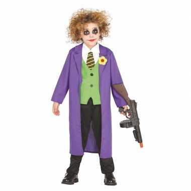 Luxe paarse horror clown joker foute kleding voor kinderen