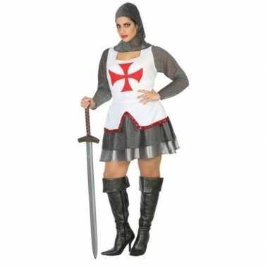 Middeleeuwse ridder foute kleding/jurk wit/rood voor dames