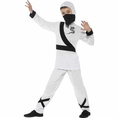 Ninja foute kleding wit/zwart voor kinderen