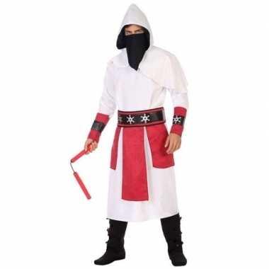 Ninja vechter foute kleding wit/rood voor heren