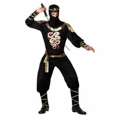 Ninja vechter foute kleding zwart/goud voor heren