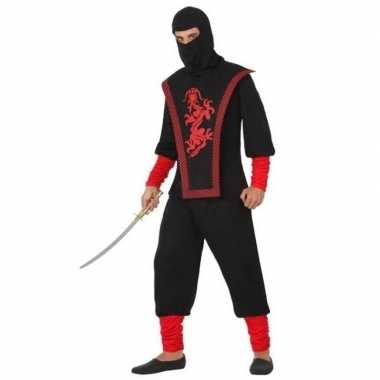 Ninja vechter foute kleding zwart/rood voor heren