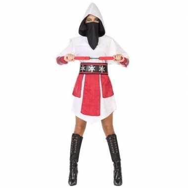 Ninja vechter jurk/foute kleding wit/rood voor dames
