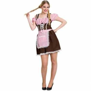 Oktoberfest bruine/roze tiroler dirndl foute kleding/jurkje voor dam