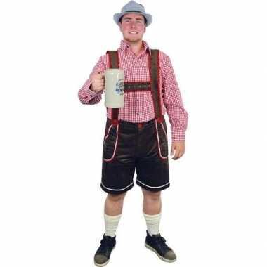 Oktoberfest bruine tiroler lederhosen foute kleding/broek voor heren