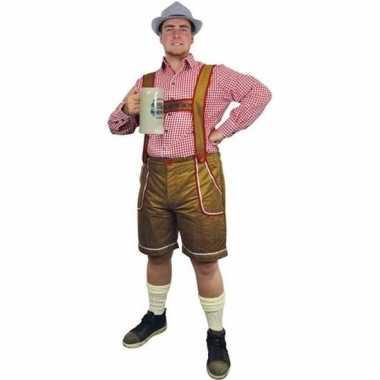 Oktoberfest lichtbruine tiroler lederhosen foute kleding/broek voor