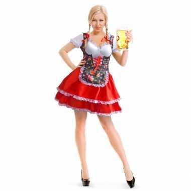 Oktoberfest rode/bloemen tiroler dirndl foute kleding/jurkje voor da
