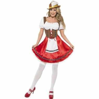 Oktoberfest rode/bruine tiroler dirndl foute kleding/jurkje voor dam