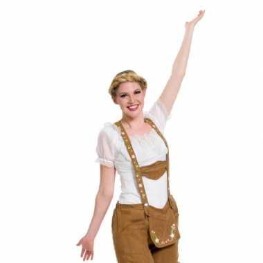 Oktoberfest witte tiroler blouse foute kleding/top voor dames