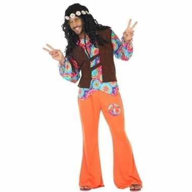 Oranje/bruin hippie/flower power foute kleding voor heren