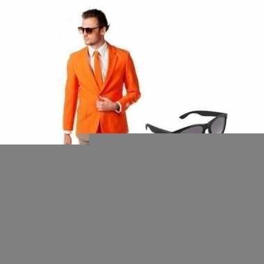 Oranje heren foute kleding maat 54 (2xl) met gratis zonnebril