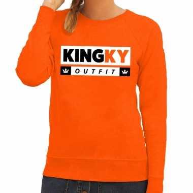 Oranje kingky foute kleding sweater voor dames
