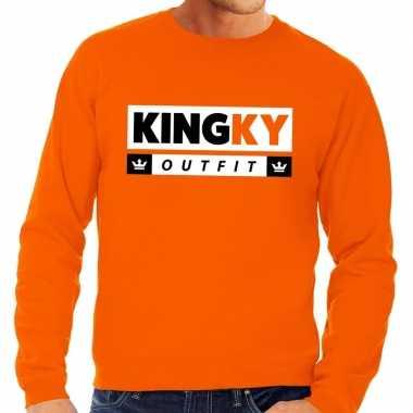 Oranje kingky foute kleding sweater voor heren