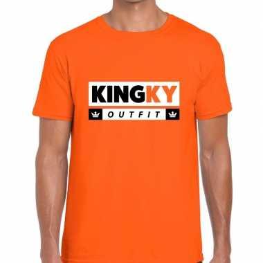 Oranje kingky foute kleding t-shirt voor heren