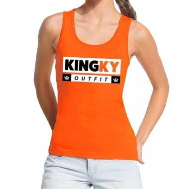 Oranje kingky foute kleding tanktop / mouwloos shirt voor dames