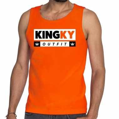 Oranje kingky foute kleding tanktop / mouwloos shirt voor he