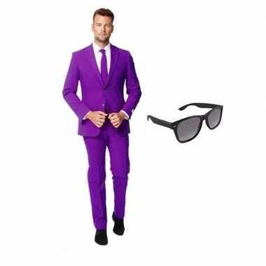 Paars heren foute kleding maat 48 (m) met gratis zonnebril