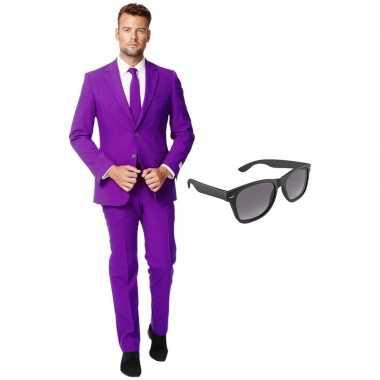 Paars heren foute kleding maat 56 (xxxl) met gratis zonnebril