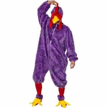 Paars kip haan foute kleding voor volwassenen