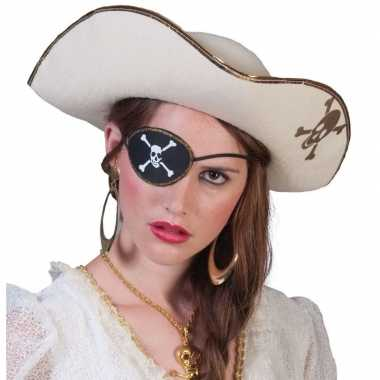 Piratenfoute kleding accessoires witte piratenhoed met schedel